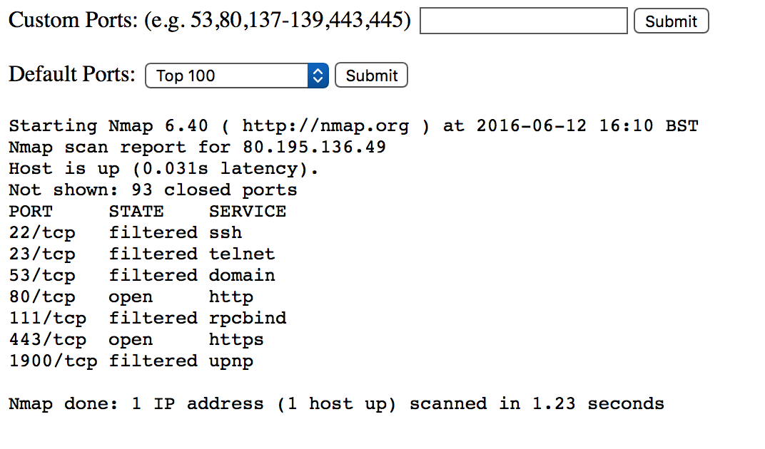 PHP NMAP Scan Page | phillips321 co uk